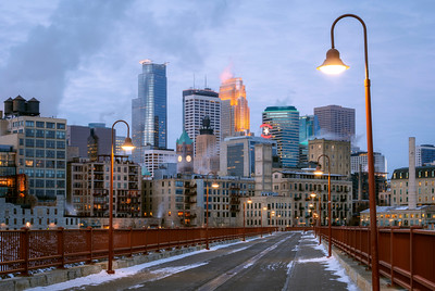 Sunrise, Stone Arch Bridge, Minneapolis, Minnesota, America