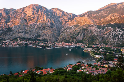 Sunset on Mountains, Bay of Kotor, Kotor, Montenegro