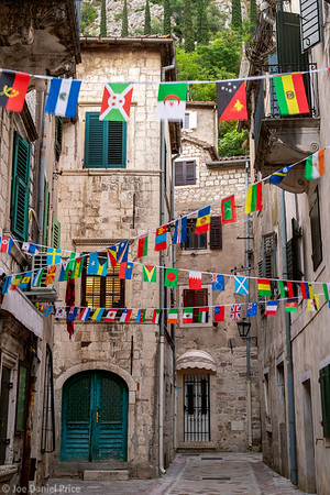 Flags, Old Street, Old Town, Kotor, Montenegro