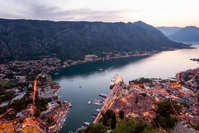Elevated View, Cruise Ship, Bay of Kotor, Kotor, Montenegro