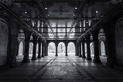 Black and White, Bethesda Terrace, New York City, New York, America