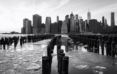 Black and White, Wooden Posts, Lower Manhattan, New York City, New York, America
