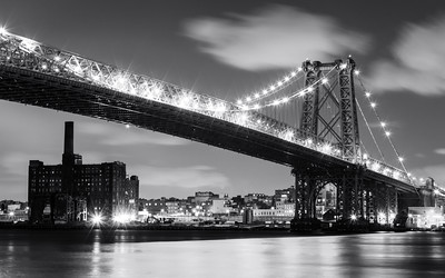 Black and White, Williamsburg Bridge, New York City, New York, America