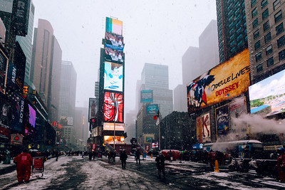 Snowy, Times Square, New York City, New York, America