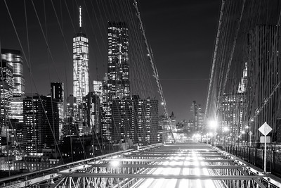 Black and White, Light Trails, Brooklyn Bridge, New York City, New York, America