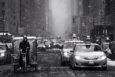 Black and White, Snowing, Traffic, New York City, New York, America