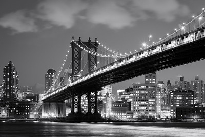 Black and White, Manhattan Bridge, New York City, New York, America