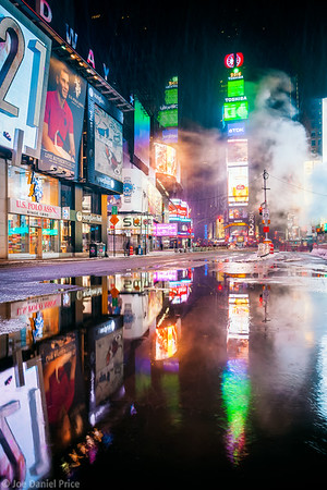 Puddle at Times Square, New York City, New York, America