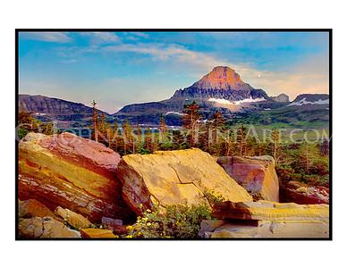 """Logan Pass Alpenglow"" note card"