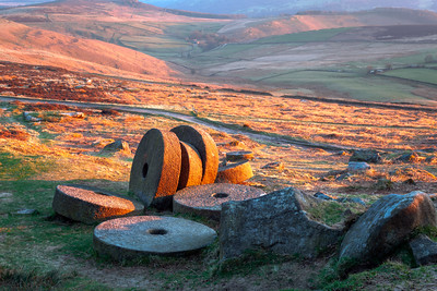 Mill Stones, Sunrise, Hathersage, Peak District, England