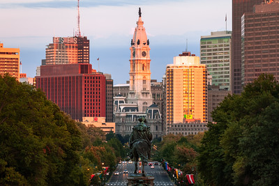 Glow on City Hall, Philadelphia, Pennsylvania, America