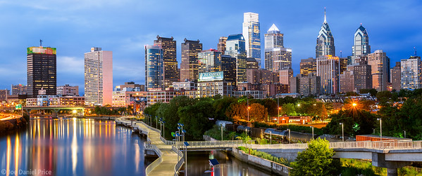 Blue Hour, Panorama, Philadelphia, Pennsylvania, America