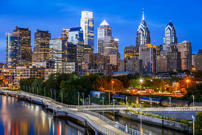 Blue Hour, Philadelphia, Skyline, Pennsylvania, America