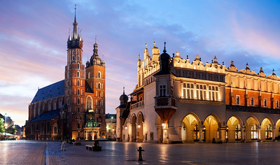 Panorama, St Mary's Basilica, Bazylika Mariacka, The Cloth Hall, Krakow, Poland