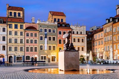 Early Morning, Mermaid Statue, Old Town Market Square, Warsaw, Poland