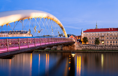 Night, The Bridge Of Locks, Krakow, Poland