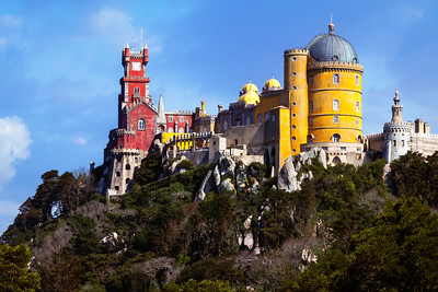 Colourful Pena Palace, Sintra, Lisbon, Portugal