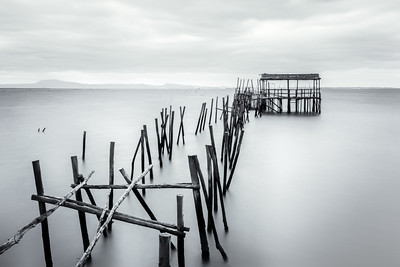 Black and White, Wooden Fisherman's Docks at Carrasqueira, Portugal