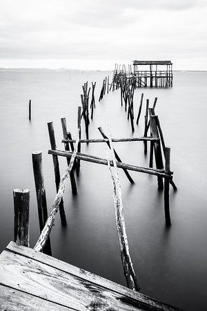 Black and White, Old Wooden Fisherman's Docks at Carrasqueira, Portugal