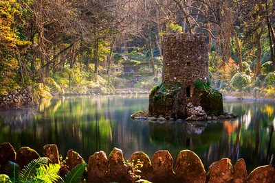 Little Castle in The Lakes at Pena Gardens, Pena Palace, Sintra, Lisbon, Portugal