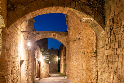 Streets and Arches at Rhodes Old Town, Greece