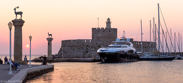 Panorama, Rhodes Old Town, Harbour, Rodos, Rhodes, Greece