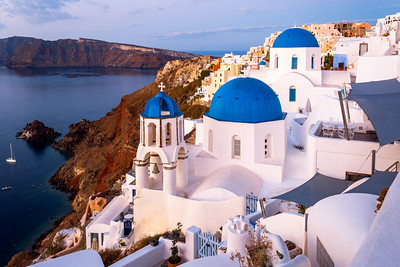Sunrise, Iconic Blue and White Chapels, Oia, Santorini, Greece
