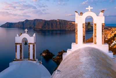 Sunrise, Bell Towers, Oia, Santorini, Greece