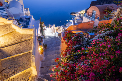 Steps down to the Harbour, Oia, Santorini, Greece