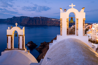 Early Morning, Bell Towers, Oia, Santorini, Greece