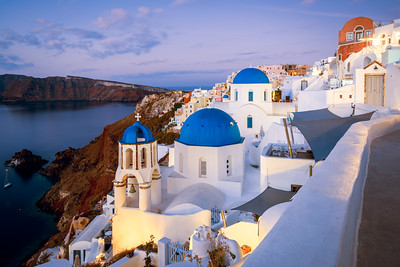 Coastline, Churches, Oia, Santorini, Greece