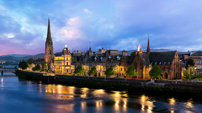 Blue Hour, Skyline, St Matthews Church of Scotland, Perth, Scotland