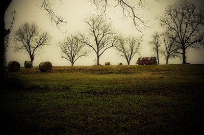 Old Farm House and Baled Hay, Old Lois, south of Nashville, Georgia