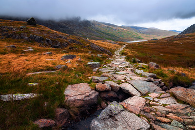 Walking Path from Lake Ogwen, Capel Curig, Snowdonia, Wales