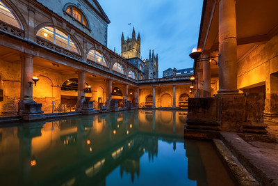 Bath Abbey from the Roman Baths, Bath, Somerset, England