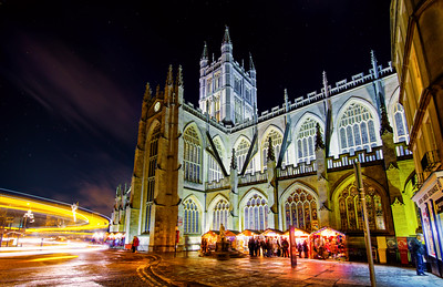 Light trails around Bath Abbey, Somerset, England