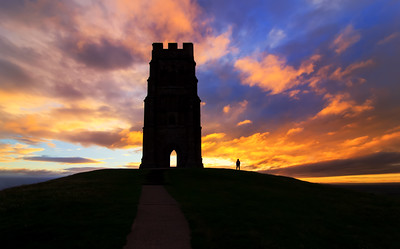 Sunrise Glastonbury Tor Silhouette, Somerset, England