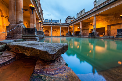 Fire Lamps at the Roman Baths, Bath, Somerset, England