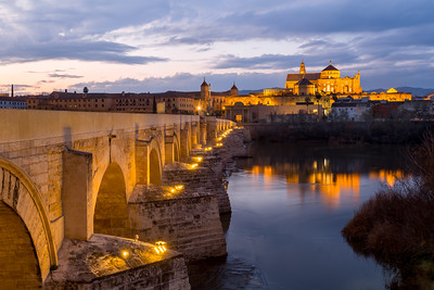 Sunset at the Cathedral of Córdoba, Puente Romano, Cordoba, Spain
