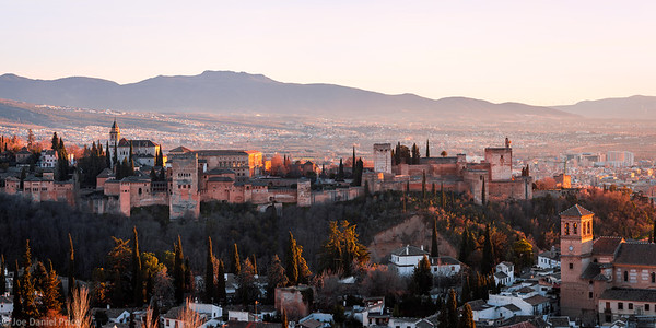 Sunset, Alhambra, Panorama, Granada, Andalusia, Spain