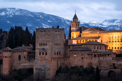 Snowy Mountains, Alhambra, Granada, Andalusia, Spain