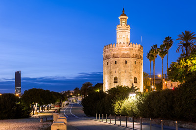 Blue Hour, Torre del Oro, Seville, Andalucia, Spain