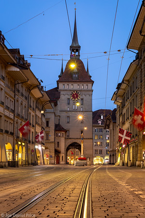 Tram Tracks, Käfigturm, Clock Tower, Bern, Switzerland