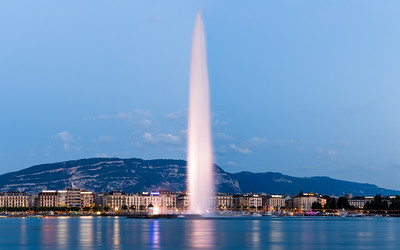 Blue Hour, Jet d'Eau, The Geneva Water Fountain, Geneva, Switzerland
