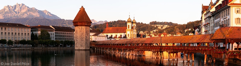 Massive Panorama, Sunrise, Kapellbrücke, Chapel Bridge, Lucerne, Switzerland