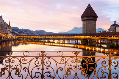 Beautiful Sunrise, Chapel Bridge, Kapellbrücke, Lucerne, Switzerland