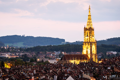 Sunset, The Cathedral of Bern, Bern, Switzerland