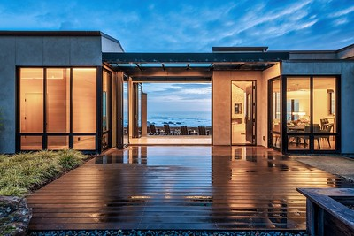Front Courtyard at Twilight & Ocean View