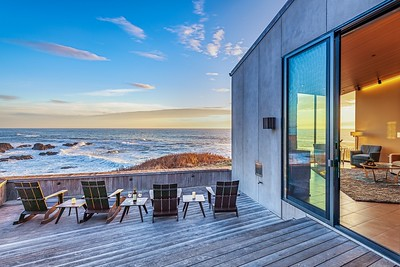 Ocean Front Deck Deck at Sunset