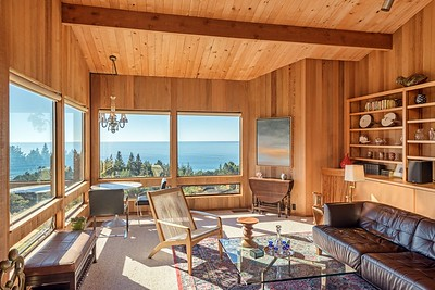 Living Room with Birds Eye View of Ocean